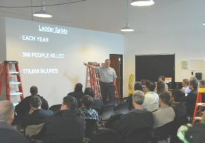 Andy Bull teaching a ladder safety class
